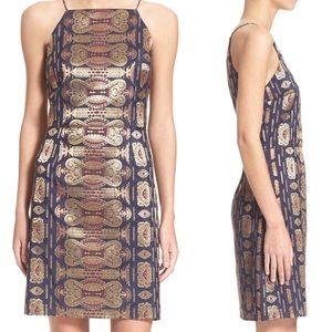Size 2 Tory Burch Jacquard Blue & Gold Mini Dress